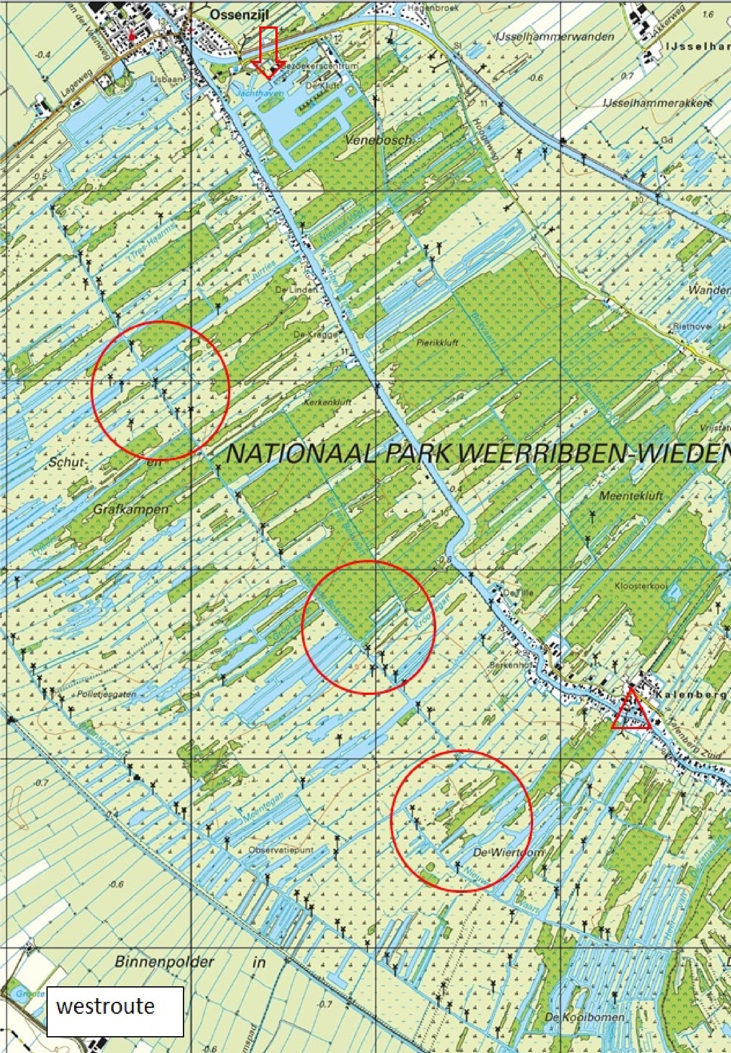 kaart westroute otterjacht 2019